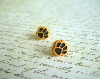 Small Orange Black Paw Earrings, Small Paw Jewelry, Paw Button Earrings, Paw Stud