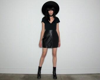Black LEATHER Mini Skirt 90s Vintage High Waist Womens Size 31 Waist