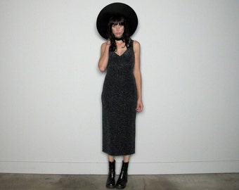 SLIVER Sparkle Maxi DRESS 90s Does 70s Glitter Glam Goth Womens Size XS/S