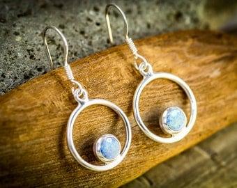 Opal Earrings,  Opal Dangles, Opal Sterling, Opal Silver, Magic Opal, Circles, October Birthstone,  Opal, Circles,