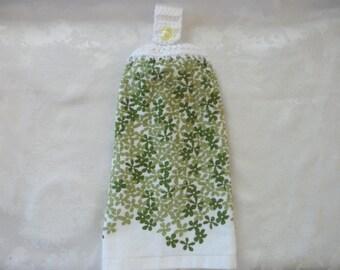 Hanging Double Kitchen Towel  Green Flower Towel Kitchen Towel Crochet Top Hanging Kitchen Towel