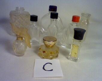 Lot of 9 vintage miniature empty perfume bottles (C)