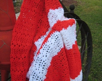 Red and White Afghan