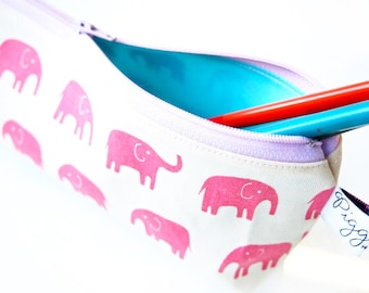 Zippered Pencil Case / Pouch - Pink Elephants