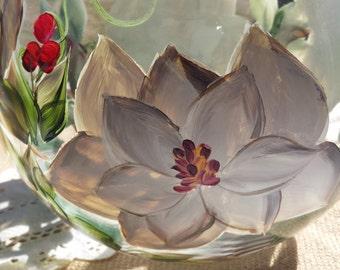 Hand painted magnolia glass bowl, magnolia vase, painted vase, glass vase
