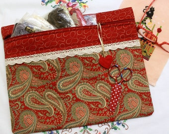 Deep Red Paisley Cross Stitch, Sewing, Embroidery Project Bag