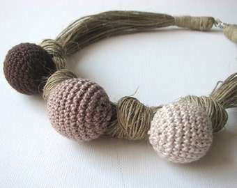 Crochet  Brown - linen necklace