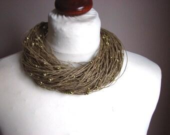 Golden raindrops - linen necklace
