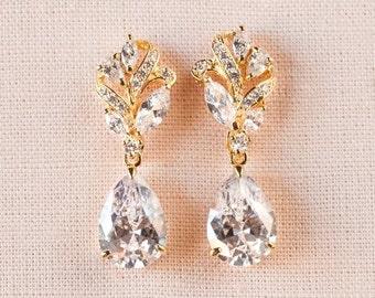 Gold Bridal Earrings, Wedding Jewelry, Rose Gold Bridal Jewelry, Swarvski, 2 Pairs in 1, Callie Bridal Earrings