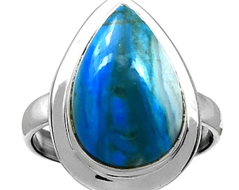 Size 10. Peruvian Blue Opal Ring in Sterling Silver.