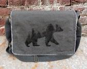 Messenger Bag - Double Exposure Bear - Screen Printed Cotton Canvas Messenger Bag
