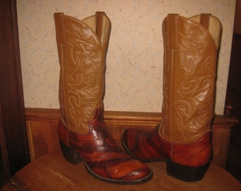 Eel Skin  & Leather    Cowboy Boots    Custom Crafted In Mexico    Mens  8.5  D