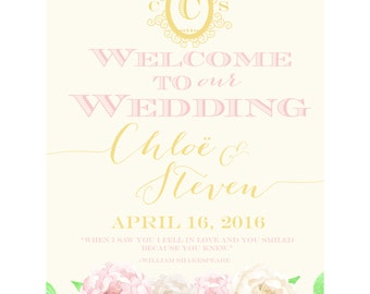 Digital Wedding Welcome Sign