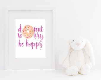 Donut Worry Be Happy Watercolor Print | Digital File