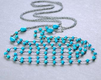 Turquoise Lariat by Agusha. Oxidized Silver Turquoise Necklace. Long Turquoise Necklace. Long Blue Gemstone Necklace
