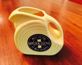 Vintage Yellow Homer Laughlin Fiesta Ware Mini Promotional Hancock County Disk Pitcher Collectible