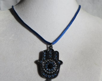 "19"" Hamsa Necklace on Blue Silk, Necklace, Hamsa, Blue Silk"