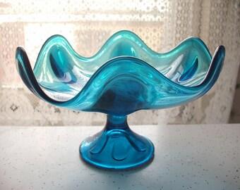 Vintage 1960's Viking Art Glass Compote, Epic line, Bluenique Blue glass compote, Art glass candy dish, Mid Century Modern decor, Retro bowl