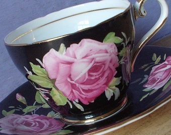 Vintage 1940's Aynsley Large Pink Rose teacup and saucer, Black tea cup, Antique teacup, English tea cup, Bone china teacup, Black china