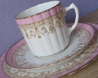 Antique 1880's Aynsley tea cup trio, Pink tea cup and saucer plate set, Victorian tea cup set, Antique teacup set, English china teacup