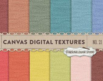 Canvas/Burlap Digital Papers No. 21 - Rainbow Colors