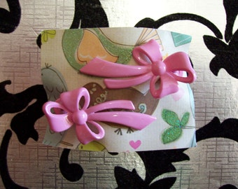 1950s style Vintage Bow Hairclips - Light Pink.