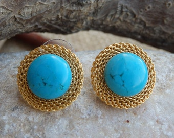 Gold and Turquoise stud earrings , Genuine Turquoise Jewelry, Blue Gemstone earrings. Natural turquoise post earrings. Around geometric ear.