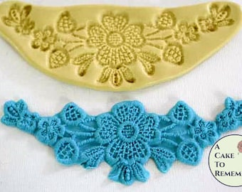 Silicone floral swag lace Mold for cake decorating cupcake decorating, polymer clay, silicone mould, swag lace mold. M060