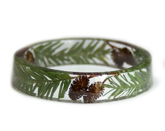 Nature Bracelet -Real Dried spruce  Leaves- Acorn Resin Bangle-Green Bracelet- BrownJewelry -Green Resin Jewelry -winter Jewelry