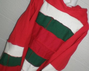 MOVING SALE Elf sweatshirt, hoodie red and green, elf sweater, santa sweater. Unisex adult smalL or x-large ONLY. Christmas sweater
