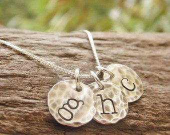 Initial Necklace Hand Stamped Mom Neckace Distressed Sterling Silver Tiny Discs Monogram Necklace