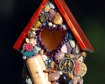 Love Birds mosaic birdhouse for wine lovers red wine rose colors and embellished in love decorative garden mosaic art birdhouse fairy garden