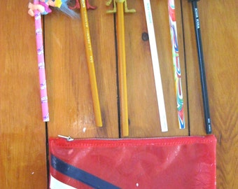 Vintage Plastic Pencil Case with Six Vintage Pencils and Pencil Toppers