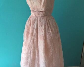 Original vintage 1960s pink burnout velvet dress