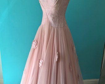 Original vintage 1950s pink and silver tulle dress