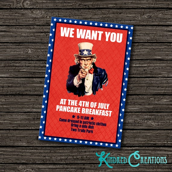 We Want You Party Invitation Instantly Downloadable And