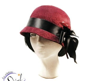 1920' style cloche hat  made in wine long hair fur felt, women felt hat, felt hat, cloche felt hat, vintage hat