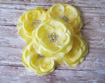 Yellow Rhinestone Flower Set of 5 | 3.5 Inch Flower for Headbands