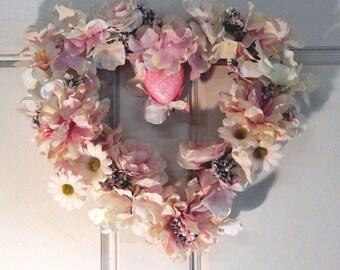 Wreath , Heart Wreath , Wreath For The Door , Pink Rose Wreath , Mothers Day Wreath