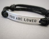 "Kids Bracelet, ""YOU ARE LOVED"" in all caps, Stamped Kids Bracelet, with adjustable cord, Paracord, Girls Bracelet, Boys Bracelet, Condolence"