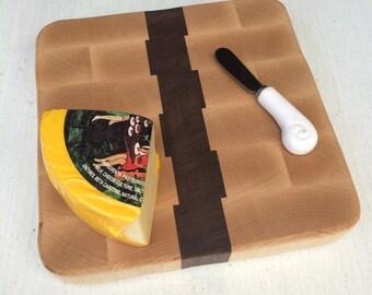 Cutting Board, Cheese Board - end grain Maple & Walnut - handmade