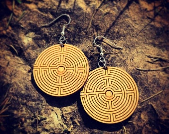 Wood Labyrinth Symbol Earrings