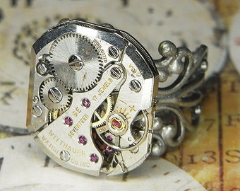 Women's Steampunk Ring Jewelry - TORCH SOLDERED - Vintage WITTNAUER Rectangular Watch Movement w Bold Design & Floral Band