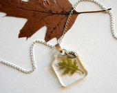 Nara - Real Oak Leaf Woodland Necklace - botanic jewelry, pressed leaf, oak, green, leaf necklace, Nature inspired necklace, natural,  ooak