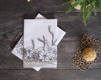 Succulents Cotton Napkin Set of 4 - SALE