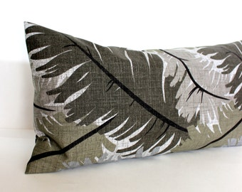 Lumbar Pillow Cover Grey Pillow Cover Tropical Feather Leaf Decorative Pillow Oblong Throw Pillow Cover 12x24 12x21 12x18 12x16 10x20