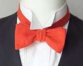 Mans' bow tie, mens linen, freestyle, self tie / red orange color - adjustable bow tie handmade by Bagzetoile in France