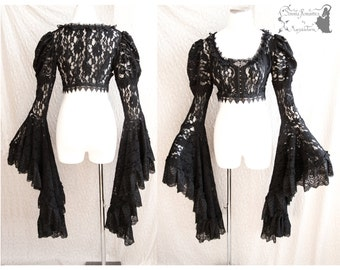 Bolero Victorian, steampunk shrug, goth sleeves, gothic, lace, Somnia Romantica, size small - medium, see item details for measurements