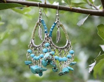 Bohemian Style Earrings - Turquoise Earrings - Feather Earrings - Fringe Earrings - Gypsy - Long Earrings - Free Spirit - Two Feathers