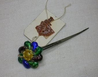 Antique Chinese Hair Pin, Hairpin. Silver, Enamel, Jian Ding Seal, Stickpin
